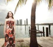 Woman posing in a beautiful dress Royalty Free Stock Image