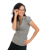 Woman posing in business suit and glasses. Stock Images