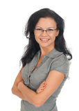 Woman posing in business suit and glasses. Stock Image