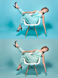 Woman posing on a chair. Royalty Free Stock Images