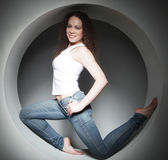 woman posing in circle Stock Photography