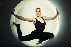Woman posing in a circle Royalty Free Stock Photo