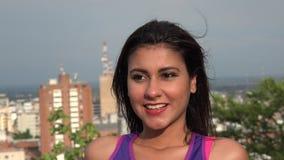 Woman Posing At City Vista stock video