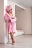 Woman posing in comfortable clothes after shower Royalty Free Stock Photography