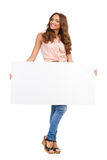 Woman Posing With Empty Placard Stock Image