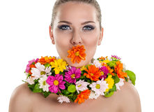 Woman posing with flower Royalty Free Stock Photos