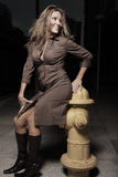Woman posing by a frie hydrant Royalty Free Stock Images