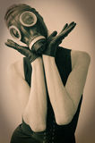 Woman Posing in Gas Mask Royalty Free Stock Photo