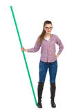 Woman Posing With Green Stick Royalty Free Stock Photos