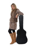 Woman posing with a guitar case Stock Image
