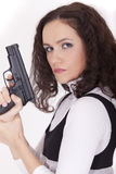 Woman posing with gun Stock Image
