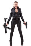 Woman posing with a guns Stock Photo