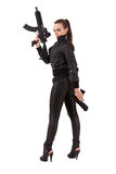 Woman posing with a guns Stock Images