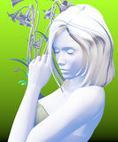 Woman posing with her eyes closed holding flowers, white colors,. Over a green background, 3D illustration, raster illustration Stock Photo