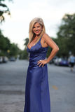 Woman Posing In A Blue Dress Royalty Free Stock Images