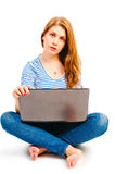 Woman posing with a laptop Stock Photography