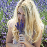 Woman posing in lavender field Royalty Free Stock Photo