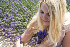 Woman posing in lavender field Royalty Free Stock Photos