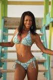 Woman posing on a lifeguard hut Royalty Free Stock Image