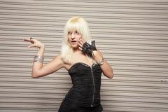 Woman posing like a robot Royalty Free Stock Photos