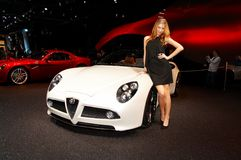 Woman posing near car at Paris Motor Show 2008 Stock Photos