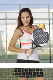 WOman posing in paddle tennis court Royalty Free Stock Photos