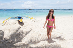 Woman posing on a paradise beach Royalty Free Stock Images