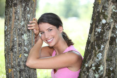 Woman posing in a park Stock Images