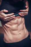 Woman posing with perfect abdomen muscles Stock Images