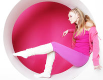 Woman posing in pink circle Royalty Free Stock Photo