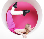 Woman posing in pink circle Royalty Free Stock Photography