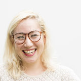 Woman Posing Portrait Fashionable Nerd Concept Royalty Free Stock Photography