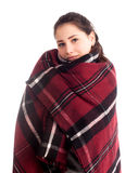 Woman posing with red blanket isolated. On white Royalty Free Stock Photo