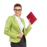 Woman is posing with a red book Stock Images