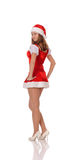 Woman posing in red christmas dress Royalty Free Stock Photos