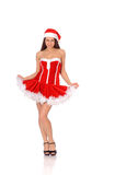 Woman posing in red christmas dress Royalty Free Stock Images