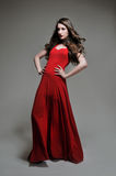 Woman posing in red dress Stock Photography
