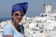 Woman is posing on santorini Stock Images