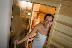 Woman posing at sauna in health spa Stock Photos