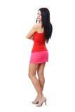 Woman posing in short skirt stock photos