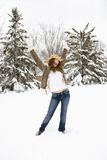 Woman posing in snow. Stock Photo