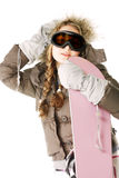 Woman posing with snowboard Stock Photo