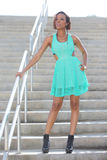 Woman posing on a staircase Royalty Free Stock Photo