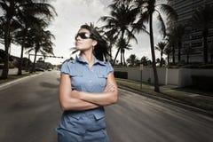Woman posing on the street Stock Image