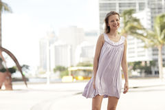 Woman posing on the street Royalty Free Stock Photography