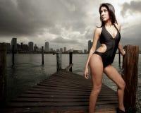 Woman posing in a stylish bikini Royalty Free Stock Images