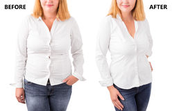 Woman posing before and after successful diet Royalty Free Stock Photography