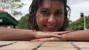 Woman Posing in Swimming Pool stock footage