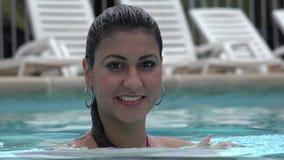 Woman Posing in Swimming Pool stock video footage