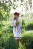 Woman posing in traditional ukrainian costume Stock Photography